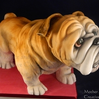 3-D British Bulldog A large 3d standing British Bulldog. A sponge cake coated and airbrushed
