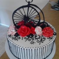 Antique High Wheel Cake I Went With A Simple Color Scheme Black White And Red Cake Was A 10X4 Inch Round High Wheel Bike Was Made From  Antique high wheel cake. I went with a simple color scheme, black, white and red. Cake was a 10x4 inch round, high wheel bike was made from...