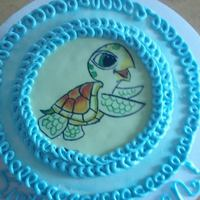 Handpainted Little Sea Turtle On Top Of My Nephews 1St Birthday Cake I Did The Sides Ombre Style To Look Like Under Water But Didnt Snap Handpainted little Sea Turtle on top of my nephew's 1st birthday cake. I did the sides ombre style to look like under water, but didn...