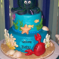 "Under The Sea Themed Baby Shower Cake For A Friend This Was A Whole Lot Of Fun ""Under the Sea"" themed baby shower cake for a friend. This was a whole lot of fun!"