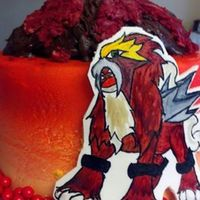 "Entei Pokemon Character Hand Painted For My Sons Birthday Complete With A Volcano ""Entei"" Pokemon character, hand painted, for my son's birthday. Complete with a volcano!"