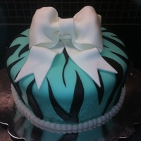 Zebra Print Fondant Bow Pearl Border 21St Birthday Cake   A cake for my sister's 21st birthday