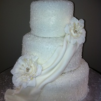60Th Wedding Anniversary Diamond White Cake Sugar Sparkle Fondant Drape 3D Flowers