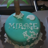 Beach Palm Tree Sea Shells Cake A cake I made for my sister's grand opening of her spa