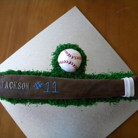 Baseball Bat Fondant covered butter cake with chocolate ganache and the ball is fondant as well