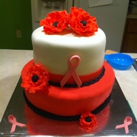 Two Tier Fondant Cake With Flower