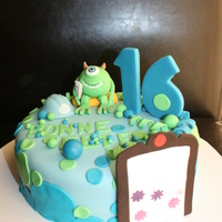 Monsters Inc Fun Cake For A Sweet 16 Party Everything Is Edible Sugar Monsters Inc. fun cake for a sweet 16 party. Everything is edible sugar.