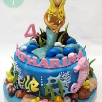 Mermaid Dreams Everything on the cake is handmade from fondant.