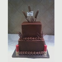 The Hunt Is Over Grooms's Cake 8, 6 inch square. Chocolate with chocolate buttercream.