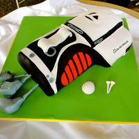 Golf Bag Groom's Cake   *Groom's cake. Taylormade golf bag. Lemon pound cake with lemon curd buttercream filling. Fondant covered.