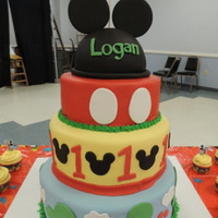 Mickey Mouse Birthday Cake This cake was donated to a little boy for his 1st birthday. He was born with a rare disease and not expected to live even 1 year. Tiers...