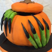 2014 Halloween - White cake with buttercream filling - covered in fondant/modeling chocolate mix.