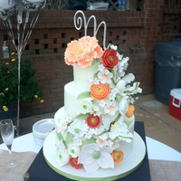 Lovely Summer Wedding Cake! Buttercream with lots of gumpaste flowers. Thanks to kickasscakes for the design. I had pinned your cake and the bride saw it and loved it...