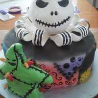 Nightmare Before Christmas Chocolate cake and cream cheese frosting with marshmallow fondant finish.