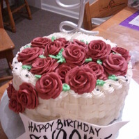 Basketweave Flower Birthday Cake. champagne flavored cake with champagne buttercream and raspberry filling.
