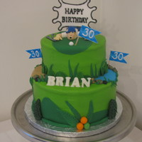 Golfing Enthusiast Buttercream with fondant and chocolate accents.