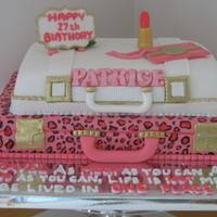 Travelling Theme Fondant covered strawberry cakes. The leopard print was hand-painted and all accents made in fondant.