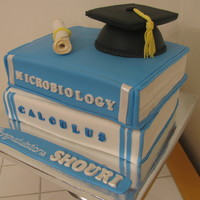 Graduation Two quarter sheet sized book cakes covered in fondant.Cap is made of cake pop mixture and a flat square cookie covered in fondant.