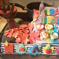 Fall Birthday I made this cake for my mom's birthday. The tree base is made from RKT, while the branches and all other decorations are fondant. The...