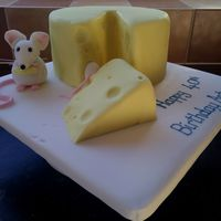 Cheese, Cake lemon sponge iced to look like a whole cheese - with handmade mice