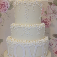 Wedding Cake 2013 Cream & White Love Birds & Blossoms Wedding Cake with LOVE