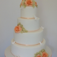 Peach Roses, Hydrangeas & Butterfly Wedding Cake