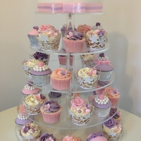 Wedding Pink & Purple Cupcake Tower Cupcakes and top cutting cake