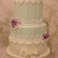 Vintage Birdcage Wedding Cake With Roses & Blossoms
