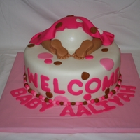 Welcome Aaliyah! Baby shower cake for a girl, tres leches stacked covered in homemade marshmallow fondant