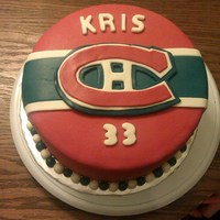 Montreal Canadiens Cake Chocolate cake, iced in vanilla American buttercream. Covered and decorated in Marshmallow Fondant.