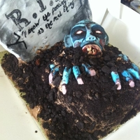 Rip Zombie Cake chocolate fudge cake with chocolate buttercream topped with crushed oreo cookies. everything on the cake is edible