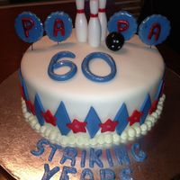 60 Striking Years! Fondant covered. The pins and bowling ball are candles.