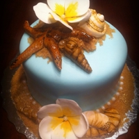 Classy Hawaiian/ocean Cake   This was for a couple who were engaged on the beach
