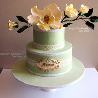 Roses And Magnolia I made this cake for my son's class teacher's birthday. Her favourite colour is green. she loved the cake and that made...