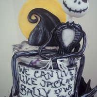 "Nightmare Before Christmas Topsy-turvy ""The Nightmare Before Christmas"" themed cake with Blink-182 lyrics to match!"