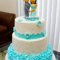Blue Ruffles Wedding Cake