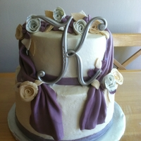 Bridal Shower Cake Buttercream with fondant decorations, edible print on white roses