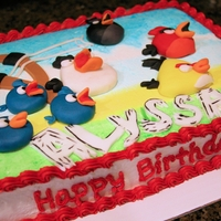 Angry Birds Sheet Cake Angry Birds Sheet cake scene, fonant accents on buttercream