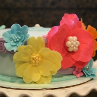 Flower Mixed B-Day Cake Vibrant colored flowers for a birthday cake