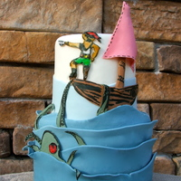 A Pirate Themed Cake For Birthday Or Baby Shower A pirate themed cake for birthday or baby shower!