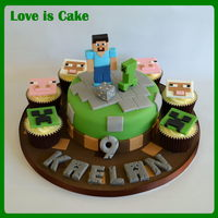 Minecraft Cake And Cupcakes  This minecraft cake was made for my own son who is a HUGE fan. All handmade and fully edible, though he won't let us eat 'Steve&#...