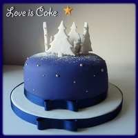 "Wintery Christmas Cake   6"" fruit cake Christmas cake. I also have cupcakes to go with this big cake :)"