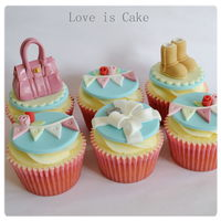Handbags, Shoes And Tiffany Cupcakes   Good luck cupcakes made for a lady who loves mulberry handbags, shoes, Tiffany and co and bunting.