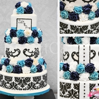 Damask Wedding Cake A Cake that was designed in the consultation for the bride matching her invites and colour scheme.