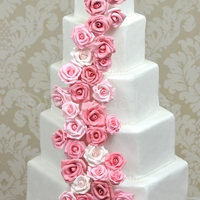 Pink Roses Hexagon shaped cakes with cascading pink sugar roses