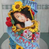 21St Birthday Cake For My Daughter All Edible Fondant Decorations Except For The Actual Photo Designs Is Based Around Her Tattoos All Det 21st Birthday cake for my daughter. All edible fondant decorations except for the actual photo. Designs is based around her tattoos. All...