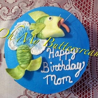"8 Buttercream Cake With Hand Painted Fondant Fish 8"" buttercream cake with hand painted fondant fish"