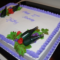 Wine And Roses Birthday Cake Wine and Roses, Buttercream with Fonadt decoration