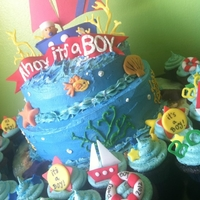 Sailor Themed Baby Shower Cake And Cupcakes