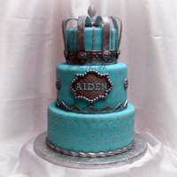 Prince Cake complete with hand painted silver crown which wraps around the top tier.